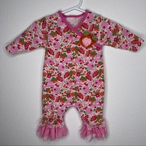 Cachcach baby girls floral tulle romper sz 3mo